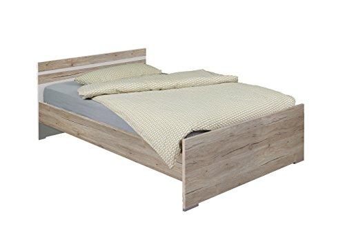 Wimex Bett/ Doppelbett Cariba, Liegefläche 140 x 200 cm, San Remo-Eiche/ Absetzung Weiß