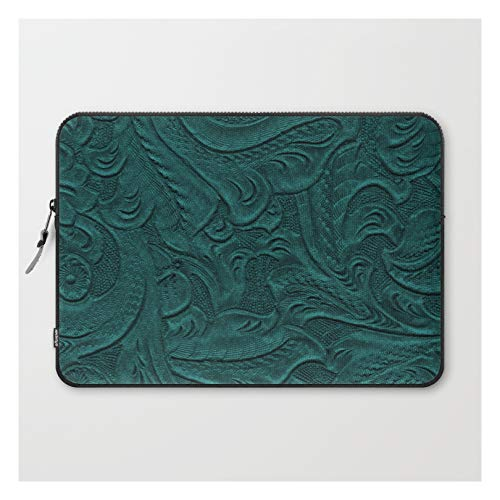 Deep Teal Tooled Leather by The Ghost Town on Laptop Sleeve - Laptop Sleeve - 15'