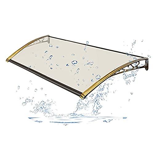 PTY Vordach für Haustür Outdoor Diaves Rain Shelter UV. Regenschneeschutz Smash Resistent für Haushaltseingang Dekoration, transparent mit Champagnergoldhalterung