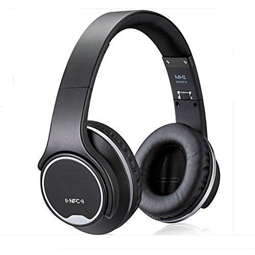 CR-Bluetooth auriculares sobre la oreja 2 en 1 plegable Twist-out altavoz inalámbrico con radio FM NFC/AUX/TF tarjeta auriculares deportivos diadema (negro)