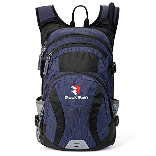 ROCKRAIN WindSeeker Insulation Hydration Cycling Backpack Pack with 2.5L BPA Free Leak Proof Water Bladder, Sufficient Storage Space for Outdoor Gear, for Cycling (Navy Blue)