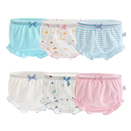 Orinery Pure Cotton Baby Girl Bloomers Infant Briefs Toddler Ruffle Assorted Underwear 6-Pack (4-5T, Color B)