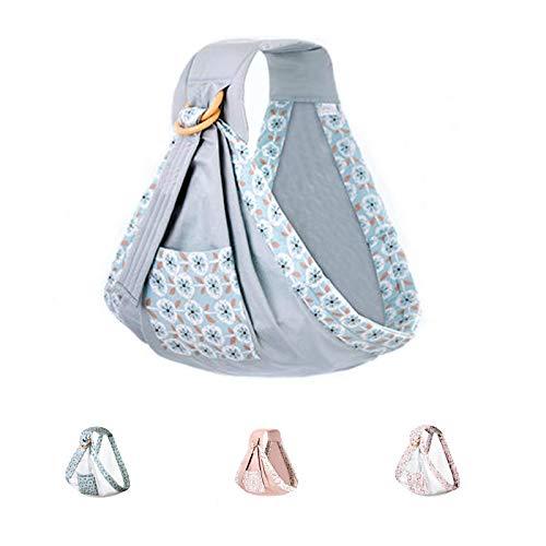 Uamita - Faja portabebés de algodòn traspirable. La riñonera más práctica y ergonómica para niños de hasta 20 kg. Grigio Fantasy