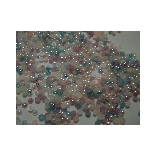 100x 14 mm Flat Back Flower Resin Pearls Craft Wedding Scrapbook Gems LIGHT BLUE