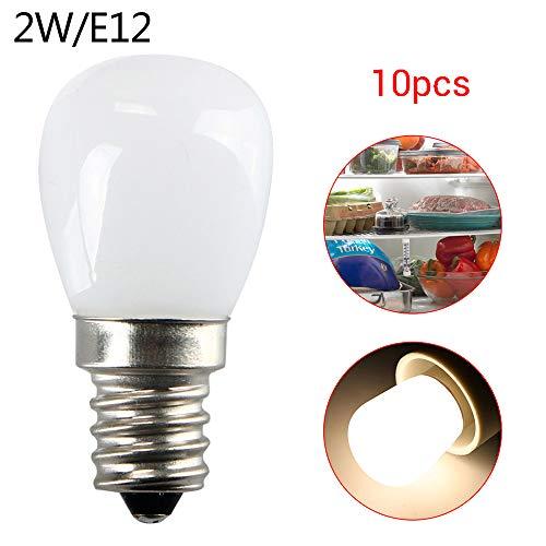 110V 2W E12 Kühlschrank Gefrierschrank Licht Gerät Lampe Schraube Birne Warm Weiß 10pc