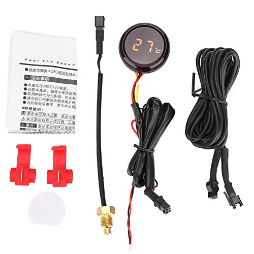 Motorrad Thermometer Digital Thermometer Wassertemperaturanzeige Manometer(Rot)