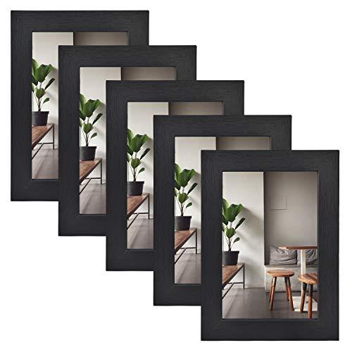 Alishomtll Bilderrahmen Holz MDF 10x15 cm Vintage 5er Set Fotorahmen Holzrahmen Rahmen Schwarz für Mehrere Bilder