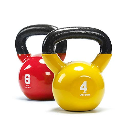 CCDLM Kettlebell, Fitness Iron Weights with Neoprene Coating Around The Bottom Half of The Metal Kettle Bell One Piece 4kg