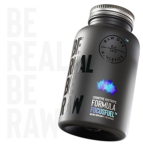 FOCUSFUEL® Nootropic Cognitive Enhancer by Raw One | Nootropic Brain Boost Supplement & Stimulants for Energy & Focus | #1 Top Rated Nootropics | 60 Capsules | Made in The UK