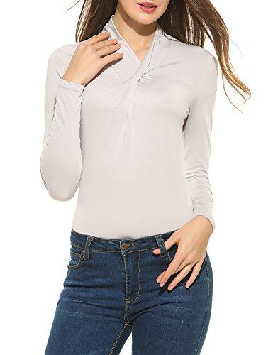 Parabler Damen Sexy V-Ausschnitt Wickelshirt Langarm Slim Fit Shirt Bluse Obertail Tops Basic Vier Jahreszeiten | Bekleidung > Shirts > Wickelshirts | Parabler