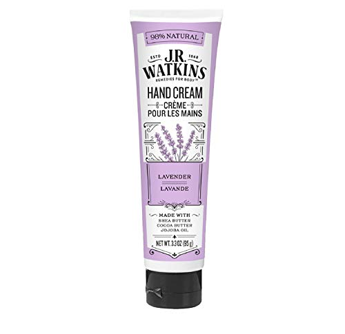 J.R. Watkins Natural Moisturizing Hand Cream, Hydrating Hand Moisturizer with Shea Butter, Cocoa Butter, and Avocado Oil, USA Made and Cruelty Free, 3.3oz, Lavender, Single