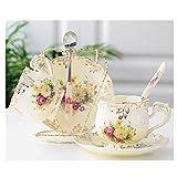 WYGOAKG Juego de 2 unidades de rosas de porcelana china de hueso juego de té británico de porcelana de cerámica tazón de azúcar taza de café taza de café