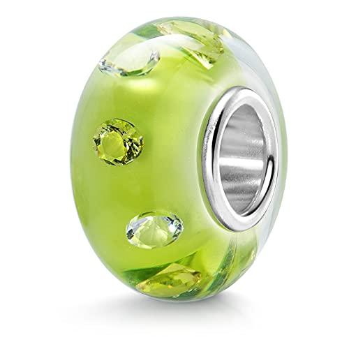 MATERIA{925} zirconi argento perline vetro ciondolo Element - European Beads in vetro di Murano perla giallo bianco #1467