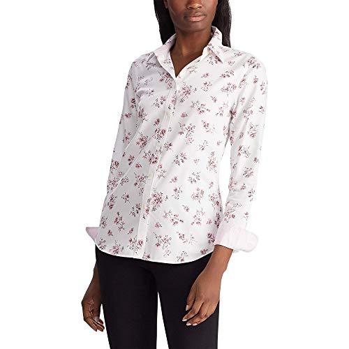 Chaps Women's Long Sleeve Non Iron Cotton Sateen-Shirt, Pearl/Pink, M