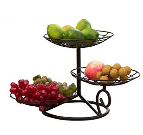 Tnaleve Frutero de metal con 3 niveles para frutas, cesta de frutas de hierro negro, soporte de almacenamiento multifuncional decorativo para sala de estar y hogar