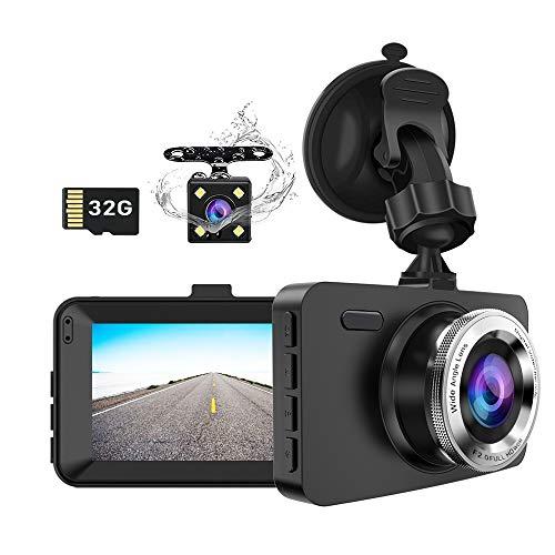 Dash Cam Auto-Front- und Heckkamera, Dual Lens Drive Recorder mit SD-Karte, 1080P Full HD, 3,0-Zoll-Bildschirm, Schleifenaufnahme, G-Sensor, WDR, Nachtsicht, Bewegungserkennung, 170 ° Weitwinkel