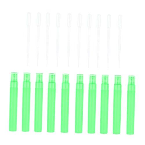 Sharplace 10x Compte-gouttes Diffuseurs Flacon Maquillage Parfum Huile Essentielle + 10x Ventouse - Vert