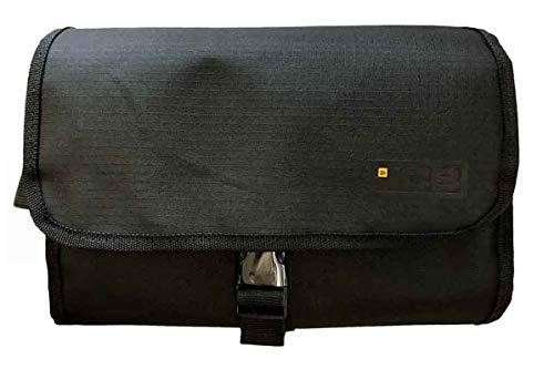 Mens JCB Delux Hanging Shave Shaving Toilet Travel Bag Wash Kit Roll Gift Black