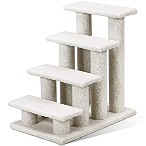 Tangkula Pet Stairs Ramp for Cats and Dogs Cat Climber Kitten Steps for High Beds (Grey)