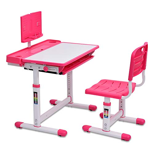 Bellanny Set scrivania e sedia per bambini, Scrivania per Bambini, Tavolo da studio per bambini, Regolabile in altezza, scrivania inclinabile, con libreria,ganci in metallo,sedia e cassetto -Rosa