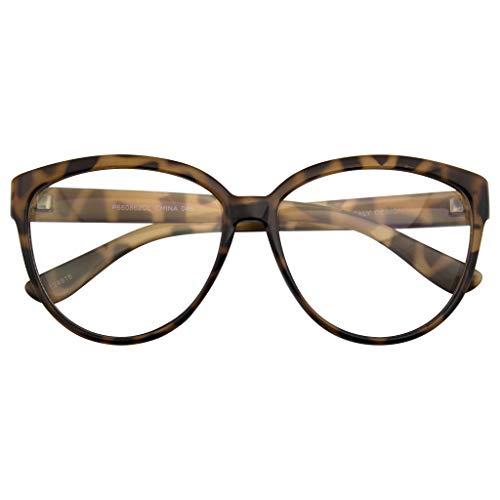 Emblem Eyewear - Womens Oversize Retrò Nerd prismature Moda Gatto Occhio Occhiali Geek (Tartaruga)