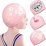 Geyoga 3 Pieces Swim Caps Waterproof Comfy Bathing Caps Non-Slip Cartoon Kids Swimming Hat for Long and Short Hair Durable Silicone Swimming Caps for Women Men Adults Kids (Dog Flamingo Style)