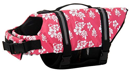 ChezAbbey Dog Life Jacket Adjustable Dog Lifesaver Preserver Swimsuit Dog Life Vest for Swimming and Boating Pink Flower XS