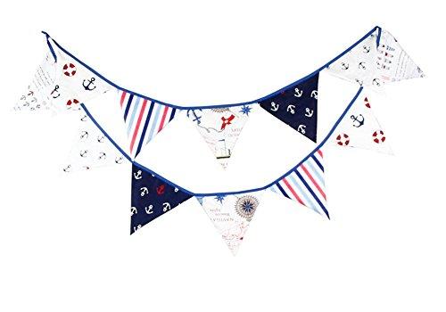 Dosige Fanions Bannière Drapeau Triangulaire en Toile de Coton Décor de Mariage Thème de Pirate Banderole pour Enfants