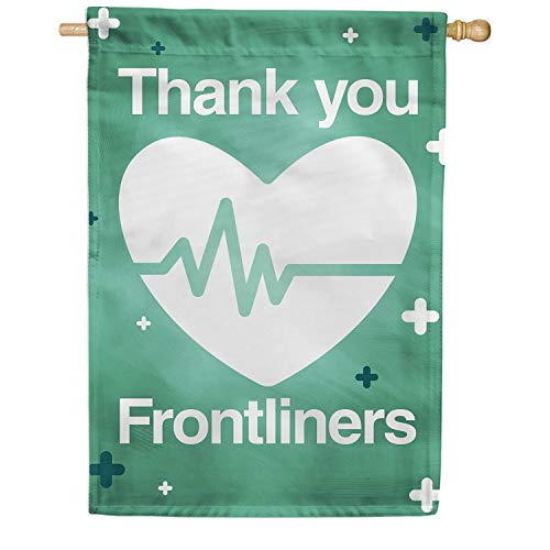 America Forever Flags Double Sided House Flag - Thank You Frontliners - 28' x 40', Thank You Healthcare Workers, Fight Against Covid-19 Coronavirus Pandemic Flag, Yard Outdoor Decor Flags