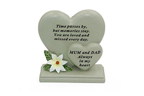Mum & Dad Sentiment Heart Graveside Remembrance Plaque Ornament