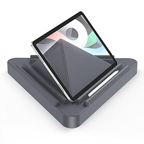 OMOTON Support Tablette, Coussin pour Support Pad Oreiller Lit Multi-Angle, Porte Tablette Conçu Triangulaire Stable pour iPad Pro, Lecteur Électronique, Phone, Livre (4.7-12.9 Pouces), Gris