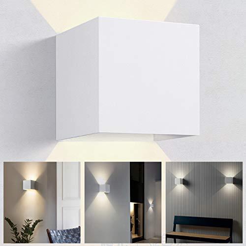 OUSFOT Aplique Pared Interior Lámpara de Pared moderna LED 6000k Aplique Decorativa Impermeable IP54 para Sala de Estar Dormitorio Cocina Comedor Cafetería(blanca cálida)