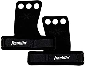 Franklin Sports 3 Hole Leather Hand Grips for Crossfit, Gymnastics, Pull-Ups, Weightlifting, Bars - Adult Hand Protection for Workouts - Large