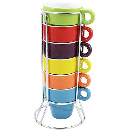 com-four 6 tazas de espresso de cerámica en varios colores brillantes con soporte cromado, 5 x 5 cm (06 piezas - coloridas)