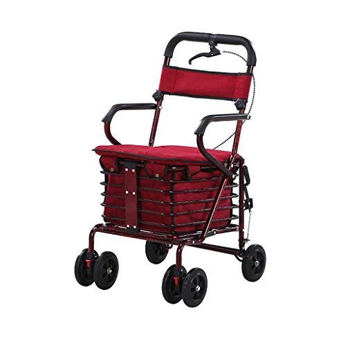 Rollators Walkers tubo d\'acciaio pieghevole a quattro ruote deambulatore Walker regolabile in altezza con sedile imbottito Carry Cestino E Freni sistemazione chiudibile girello ortopedico RVTYR