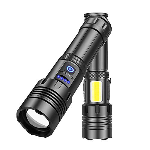LED Tactical Flashlights, Camping Accessories, XHP70 Zoomable Torch Light, Camping Gear, Emergency Supplies, 3 Modes, COB Side Auxiliary-4 Modes, IP65 Water Resistant