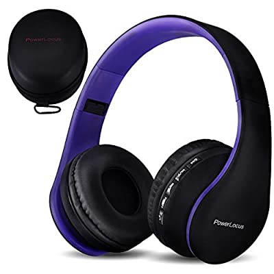 PowerLocus Wireless Bluetooth Over-Ear Stereo Foldable Headphones, Wired Headsets Noise Cancelling with Built-in Microphone for iPhone, Samsung, LG, iPad (Purple) from PowerLocus