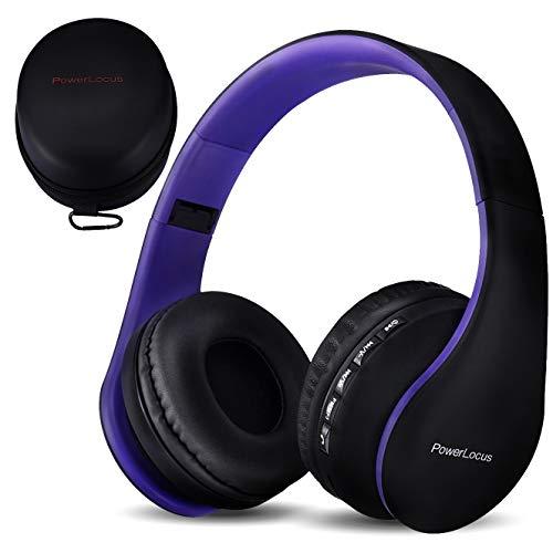 PowerLocus Cuffie Bluetooth Senza Fili Over-Ear Cuffie Stereo Pieghevoli Auricolari, Wireless Cuffie Riduzione del Rumore con Microfono per iPhone, Samsung, LG, iPad, PC, iPod (Viola)