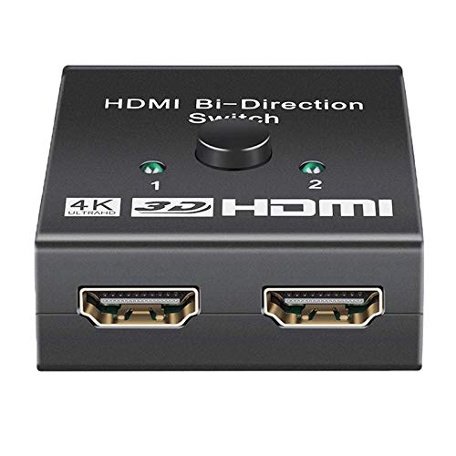 MagiDeal Conmutador 4k HDMI, Conmutador HDMI 1.4 de 2 Puertos, Compatible con 4K @ 30Hz Ultra HD 3D HD