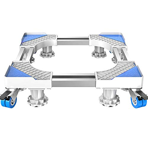 QINGMM Verstellbarer Möbelroller mit 4 feststellbaren Gummirädern und 8 stabilen Füßen, universeller fahrbarer Untersatz für Waschmaschinen, Trockner und Kühlschränke
