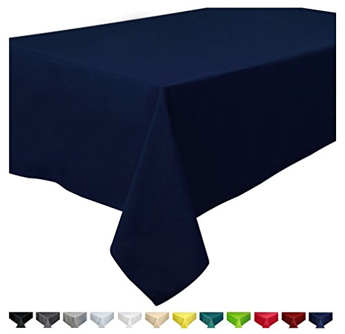 Home Direct Qualitäts Tischdecke Textil Eckig 150 x 300 cm, Farbe wählbar Dunkelblau