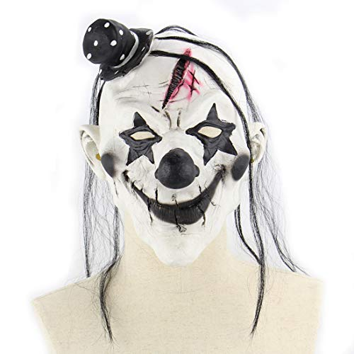 DUBAOBAO Demon Clown Masker Latex Horror Eng Grappig Masker Halloween Room Escape Props, Halloween Maskers, Halloween Body Parts Props