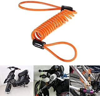 SumoTik 1.5M Disc Lock Security Reminder Cable Motorcycle Scooter Bike Anti-thieft Tool, Motorcycle Motorcycle Alarm & Security, (Orange), 1 X Disc Lock Reminder Cable
