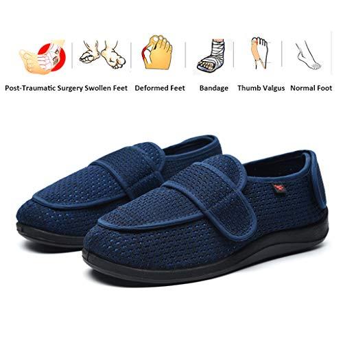 NANFENG Zapatos para Mujer para Diabéticos, Cálido Felpa Confort Zapatos De Los Deslizadores Extra Ancho Ancho Ajustable para La Casa De Interior/Exterior De Ancianos Artritis Edema,Azul,48