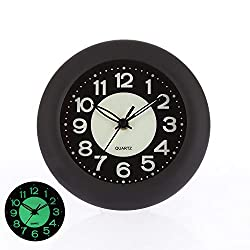 TranSeasier 6.7 Luminous Waterproof Wall Clock Silent Non-Ticking Battery Operated Quality Quartz Analog Clock, No Alarm, Flexible Options to Hang or Stand, Withstand Water Vapor and Moisture(Black)