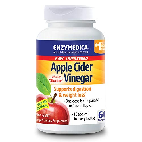 Enzymedica, Apple Cider Vinegar, Natural Support for Digestion and Healthy Weight Balance with the Mother Preserved in Each Serving, Raw, Unfiltered, Non-GMO, Vegan, 60 capsules (30 servings)