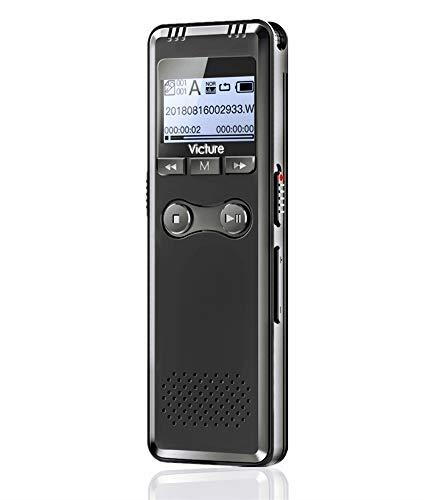 Victure Registratore Vocale Digitale 8GB Portatile Supporta TF Fino a 64 GB con Attivazione Vocale USB Ricaricabile 2 Microfono Spia per Lezioni università Riunioni Colloqui Telefonico