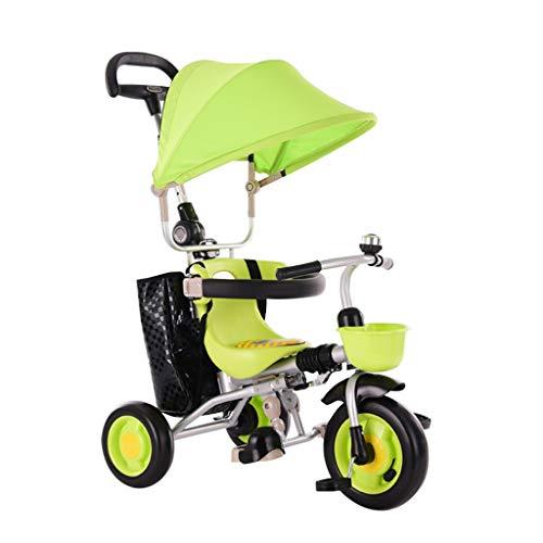GYF Passeggino per ,Lo Schienale Lungo È Rimovibile Bambini Triciclo 4 in 1 Triciclo Passeggino per Bambini Rosso Verde Marrone ( Color : Green )