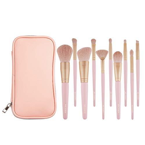 Maquillage Brush Set 10 Pcs Fard À Joues Professionnel Contour Des Yeux Ombre Foundation Brosse À Sourcils Avec Le Sac À Glissière En Tissu