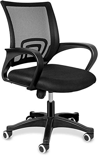 YSSOA Task Office Chair Ergonomic Mesh Computer Chair with Wheels and Arms and Lumbar Support Adjustable Height Study Chair for Students Teens Men Women for Dorm Home Office,Black